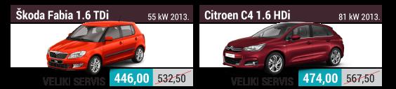 Veliki servis Škoda Fabia 1.6 TDI i Citroen C4 1.6 HDii